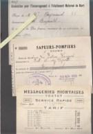 Niort - Deux Sevres - Messageries Portet, Tarif / Sapeurs-Pompiers, Cotisation 1938 / Encouragement Allaitement Maternel - 1900 – 1949