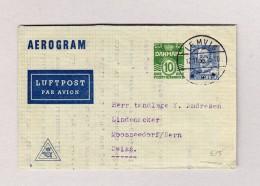 Dänemark LEMVIG 12.11.1958 Aerogram Nach Mooseedorf BE - Poste Aérienne