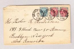 Dänemark AARHUS-HOU JB Brief Nach USA Mi AK-Stempel Brooklyn 6.10.1884 - 1864-04 (Christian IX)