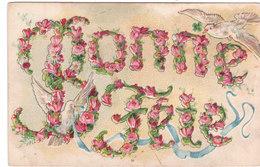Carte Postale Ancienne - Fantaisie - Gaufrée - Bonne Fête - Fleurs - Oiseaux - Fantaisies