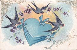 Carte Postale Ancienne Fantaisie - Gaufrée - Oiseaux - Hirondelle - Bonne Fête - Fantaisies