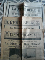 Lot De Journaux Belges Et Français Relatifs à La Mort D'ALBERT 1er Le Samedi 17 Février 1934(suivant Détails Ci-dessous) - Kranten