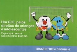 2 Cartes Postales Brésil, Contre Le Tourisme Sexuel, éditées Lors De La Coupe Du Monde De Football 2014.Cage De But, - Brasilia
