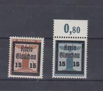 Lot Glauchau Gummi Mit Haftstellen - Soviet Zone