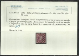 ANTICHI STATI ITALIANI ASI 1851 SARDEGNA CENTESIMI 40  ROSA LILLA OTTIMI MARGINI ANNULLATO USED CERTIFICATO - Sardinia