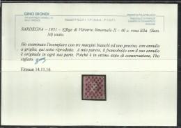 ANTICHI STATI ITALIANI ASI 1851 SARDEGNA CENT. 40c  ROSA LILLA OTTIMI MARGINI ANNULLATO USED CERTIFICATO - Sardinia
