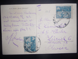 Pologne Carte De 1922 Pour Zurich - 1919-1939 Republic