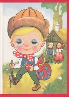 217917 /  Illustrator E. HAVLICKOVA - 3D STEREO Lenticular EYES , Grandparents Grandson DISPATCH  Czechoslovakia - Altre Illustrazioni