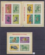 + GUINEE, 1968, FAUNE AFRICANE, MI: BLOCK 29B, 30B, 31B, MNH, HIPPO, LION, TOP QUALITY,  See Scans - Guinée (1958-...)