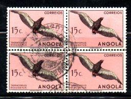 W2223 - ANGOLA , 15 Cent N. 330 Quartina Aperta Usata. Uccelli Bird Aquila - Angola