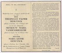 DP  Theophaan Palmer En Maria Leonie DEMUYNCK - Maria VANDENDRIESSCHE - Kachtem - Izegem - Fontaine -Valmont - 1945 - Obituary Notices