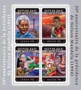 REPUBLIC OF GUINEA SHEET. 20E ANNIVERSAIRE DE LA PRÉSIDENCE DE NELSON MANDELA. 2014. PERFORADO NUEVO. - Guinea (1958-...)
