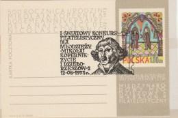 #BV4652  NICOLAUS COPERNICUS, MIKOLAJ KOPERNIK, ASTROLOGY , SPECIAL MARK ON POSTAL STATIONERY, 1973, POLAND. - Astrology