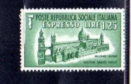 1944 - REPUBBLICA SOCIALE ITALIANA - R.S.I - ESPRESSO DUOMO DI PALERMO -  NUOVO MNH** - F050 - 4. 1944-45 Repubblica Sociale