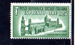 1944 - REPUBBLICA SOCIALE ITALIANA - R.S.I - ESPRESSO DUOMO DI PALERMO -  NUOVO MNH** - F051 - 4. 1944-45 Repubblica Sociale