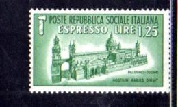 1944 - REPUBBLICA SOCIALE ITALIANA - R.S.I - ESPRESSO DUOMO DI PALERMO -  NUOVO MNH** - F052 - 4. 1944-45 Repubblica Sociale