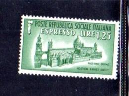 1944 - REPUBBLICA SOCIALE ITALIANA - R.S.I - ESPRESSO DUOMO DI PALERMO -  NUOVO MNH** - F053 - 4. 1944-45 Repubblica Sociale