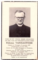 Devotie Doodsprentje - Pastoor Felicien Vanhauwere - Waregem 1897 - Roeselare - Marke 1959 - Obituary Notices