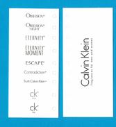 Cartes Parfumées Carte   CALVIN KLEIN   GAMME  RECTO VERSO - Modern (from 1961)