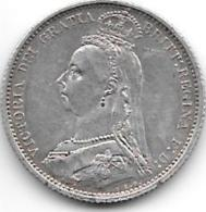 Great Britain 6 Pence 1887 Km 759  Vf+ - 1816-1901: 19. Jh.