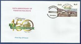 PAKISTAN 2011 MNH FDC FIRST DAY COVER RAILWAYS IN PAKISTAN, RAILWAY, TRANSPORT, TRAIN, TRAINS, MOUNTAIN MOUNTAINS