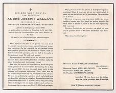 DP  André Joseph WALLAYS - Ghekiere - Ledegem - Roeselare - 1900 / 1961 - Overlijden
