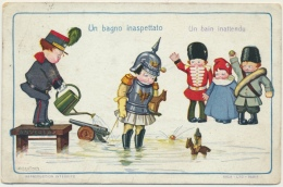 Illustrateur Bertiglia A. : Un Bain Inattendu - Scène Enfants, Satyre Contre L'Allemagne De Guillaume II - Bertiglia, A.