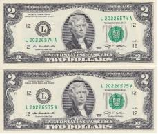 PAREJA CORRELATIVA DE ESTADOS UNIDOS DE 2 DOLLARS DEL AÑO 2009 SERIE L (BANK NOTE) SIN CIRCULAR-UNCIRCULATED - Federal Reserve Notes (1928-...)