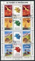 Sao Tome E Principe, 1978, UPU Centenary, Admission To The UPU, United Nations, Cancelled Sheet, Michel 522-529A - Sao Tomé Y Príncipe