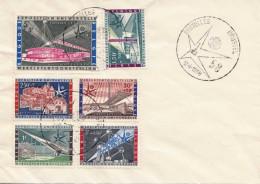 BELGIEN 1958 - 6 Sondermarken Auf Brief Gestempelt, Sonderstempel Brüssel - Belgien