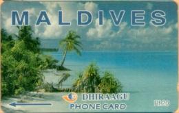 Maldives - GPT, Beach, 5MLDA, 1/2000, Heavilly Used - Maldives