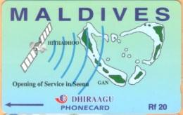 Maldives - GPT, Opening Of Service In Seena/ HITHADHOO, 7MLDA, 1000ex, 1/00, Used - Maldives