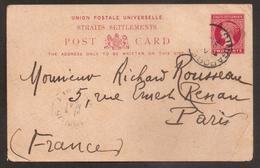 UK - Singapour - 1891 - Entier Postal Pour Paris - TTB - Singapour (...-1959)
