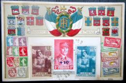 CARTE PATRIOTIQUE A LA GLOIRE DE L'INFANTERIE FRANCAISE  ET  PETAIN 1914  NUANCES DE TIMBRES  SURCHARGE BLASONS GAUFRES - Guerra 1939-45