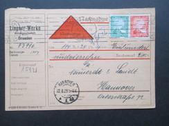 DR 1925 Nachnahme Karte über 114 Mark. Lingner Werke Aktiengesellschaft Dresden. - Briefe U. Dokumente