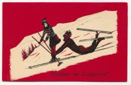KRAMPUS - Diable, Devil, Snow, Skis, Skiing , Old Postcard - Christmas