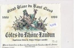 AC ( Etiquette De Vin)  - Grand Blanc Du Haud Claud 1986 ( Cotes Du Rhone Laudun) - Blancs