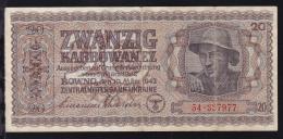 Ukraine 1942 Zwanzig Karbowanez Banknote Der Zentralnotenbank Der Ukraine - Coins