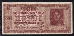 Ukraine 1942 Zehn Karbowanez Banknote Der Zentralnotenbank Der Ukraine In Rowno - Coins