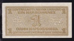 Ukraine 1942 Ein Karbowanez Banknote Der Zentralnotenbank Der Ukraine In Rowno - Coins