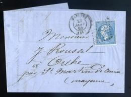 Marque Postale Marcophilie Lettre 1865 Destinataire à Orthe 53 Pour Facture Louis Pivette Comptoir De Mayenne JIP51 - 1849-1876: Période Classique