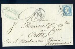 Marque Postale 2049 Marcophilie Lettre 1869 Destinataire à Orthe 53 Pour Facture Mariaux & Mercier Limoges JIP51 - Marcophilie (Lettres)