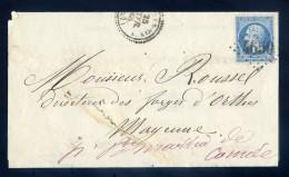 Marque Postale 4650 Lettre 1868 à Forges D' Orthe Facture Société De Carbonisation Ahun Les Mines  JIP51 - Marcophilie (Lettres)