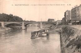 94 ALFORTVILLE LE QUAI D'ALFORVILLE ET LE PONT DU CHEMIN DE FER CIRCULEE 1915 - Alfortville