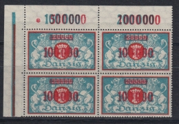 (04198) Danzig 150 Viererblock Eckrand Oben Links Postfrisch Feld 1 D Mit Feinem Anstrich - Danzig