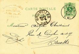 Entier Postal Lion Couché EECLOO 1885 Vers BXL - Cachet En Relief Pharmacien Symoens , Grand Place -- XX702 - Entiers Postaux