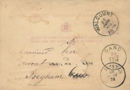 Entier Postal Lion Couché WALCOURT 1878 Vers GAND Puis ISEGHEM -Cachet En Relief Carrières Et Scieries WALCOURT -- XX703 - Entiers Postaux