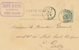 Entier Postal Lion Couché JUMET 1890 Vers GILLY - Cachet Verreries Eugène Baudoux  -- XX704 - Entiers Postaux