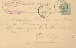 Entier Postal Lion Couché JUMET 1892 Vers GILLY - Cachet Verreries De Jumet S.A.  -- XX705 - Entiers Postaux