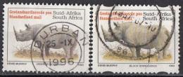 867F Sud Africa 1996 Rinoceronte Nero - Black Rhinoceros Viaggiato Used South Africa Endangered Fauna - South Africa (1961-...)